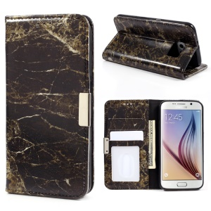 Marble Texture Leather Wallet Flip Cover for Samsung Galaxy S6 G920 - Black