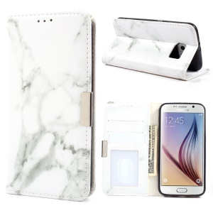 Marble Texture Leather Wallet Phone Cover for Samsung Galaxy S6 G920 - Grey
