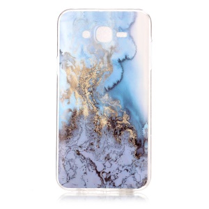 Marble Pattern IMD Soft TPU Jelly Cover for Samsung Galaxy J7 SM-J700F - Baby Blue