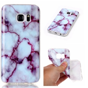 Marble Pattern IMD TPU Case Shell Cover for Samsung Galaxy S7 G930 - Purple