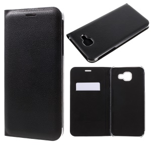 PU Leather Folio Cellphone Case with Card Slot for Samsung Galaxy A8 (2016) - Black