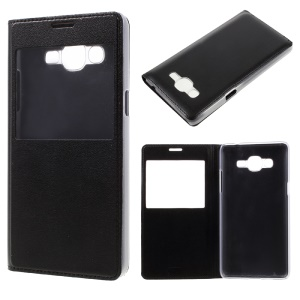 Window View Leather Cell Phone Case for Samsung Galaxy J2 Prime - Black