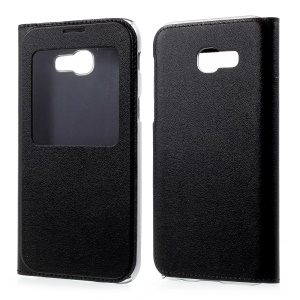 Information View Window Leather Phone Case for Samsung Galaxy A5 (2017) - Black