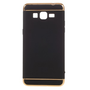 3-piece Rubberized Hard Case with Plated Frames for Samsung Galaxy Grand Prime SM-G530 - Black