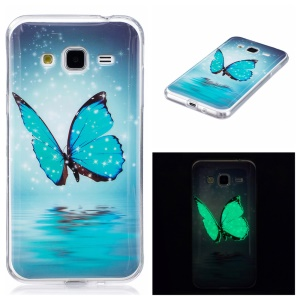 IMD Luminous Glow Phone Case Accessory (TPU) for Samsung Galaxy J3 (2016) - Blue Butterfly