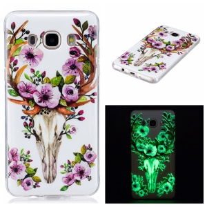 Noctilucent IMD Soft TPU Back Cover for Samsung Galaxy J5 (2016) - Elk and Flowers