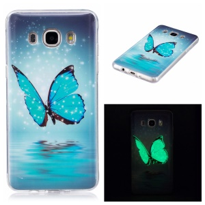 Luminous IMD Soft TPU Mobile Phone Shell for Samsung Galaxy J7 (2016) - Shiny Butterfly