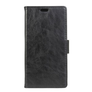 Crazy Horse Leather Wallet Case for Samsung Galaxy J3 Prime - Black