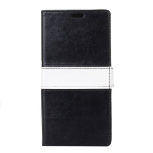 Contrast Color Wallet Phone Case Leather Cover for Samsung Galaxy J3 Prime - Black