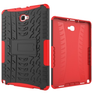 Heavy Duty Rugged Mobile Case (Plastic + TPU) for Samsung Galaxy Tab A 10.1 (2016) with S Pen P580 / P585 - Red