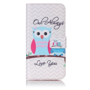 Patterned Leather Wallet Magnetic Shell for Samsung Galaxy A5 (2017) - Owl Pattern