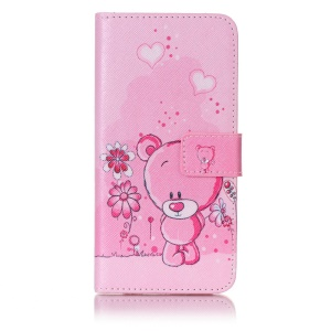 Patterned Leather Wallet Stand Mobile Phone Case for Samsung Galaxy A5 (2017) - Pink Bear