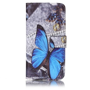 Patterned Leather Wallet Stand Phone Cover for Samsung Galaxy A5 (2017) - Blue Butterfly