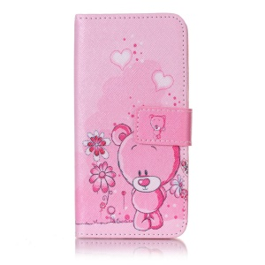 Pattern Printing Leather Magnetic Case for Samsung Galaxy A3 (2017) - Cute Bear and Flowers