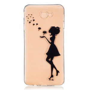 Embossed TPU Mobile Shell for Samsung Galaxy J7 Prime/On7 2016 - Girl Blowing Dandelion
