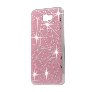 Double-sided Bling Powder Hybrid Cell Phone Case (TPU + Acrylic) for Samsung Galaxy J5 Prime / On5 (2016) - Geometrical Pattern / Pink