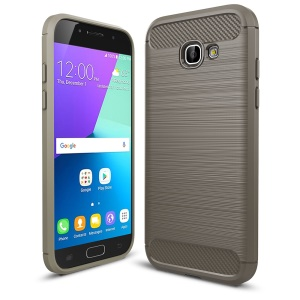 Carbon Fiber Texture Brushed TPU Phone Cover for Samsung Galaxy A5 (2017) - Grey