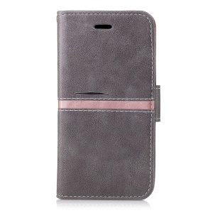 Phone Accessory Wallet Stand Leather Phone Cover for Samsung Galaxy A3 (2017) - Grey