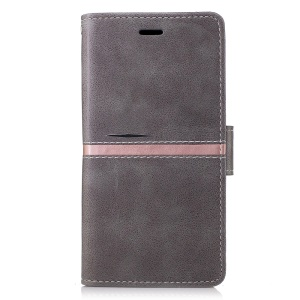 Phone Accessory Wallet Stand Leather Phone Cover for Samsung Galaxy A5 (2017) - Grey
