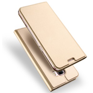 DUX DUCIS Skin Pro Series Phone Casing for Samsung Galaxy A7 (2017) Leather Mobile Phone Cover with Card Slot - Gold