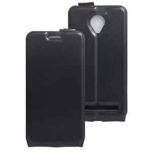 Vertical Flip Phone Case Crazy Horse Leather Cover for Lenovo Vibe C2 Power - Black
