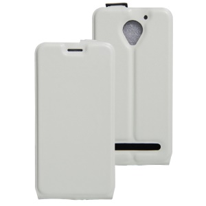 Up Down Open Crazy Horse Leather Magnetic Case for Lenovo Vibe C2 Power - White