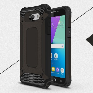 Heavy Duty Rugged Hybrid Cell Phone Case (Plastic + TPU) for Samsung Galaxy J3 Prime - Black
