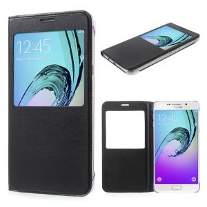 Information View Window Leather Mobile Case for Samsung Galaxy A9 (2016) - Black