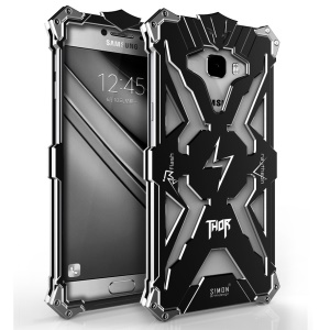 Heavy Duty Aviation Aluminum Armor Phone Back Case for Samsung Galaxy C7 - Black
