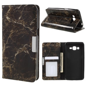 Marble Grain Leather Stand Phone Casing for Samsung Galaxy J2 Prime - Black