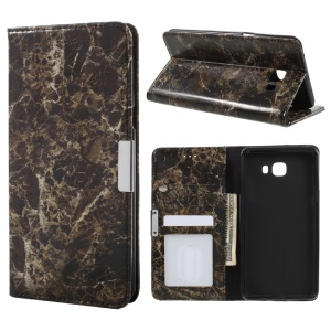 Marble Grain Wallet Phone Case Smooth Leather Cover for Samsung Galaxy C9 Pro - Black