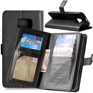 Multi-slot Leather Wallet Stand Phone Case for Samsung Galaxy S7 Plus - Black