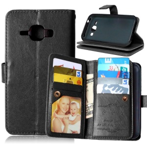 Crazy Horse 9 Card Slots Leather Wallet Case for Samsung Galaxy J1/J1 4G - Black