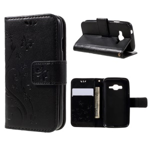 Imprinted Butterfly Flowers Leather Wallet Case for Samsung Galaxy J1 mini prime - Black