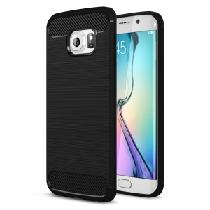 Carbon Fibre Brushed TPU Case for Samsung Galaxy S6 edge SM-G925 - Black