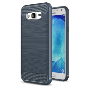 Carbon Fibre Brushed TPU Protective Case for Samsung Galaxy J5 SM-J500F - Dark Blue