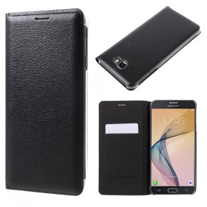 Card Slot PU Leather Phone Case for Samsung Galaxy J7 Prime/On7 2016 - Black