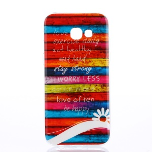 IMD Pattern TPU Soft Back Case for Samsung Galaxy A3 (2017) - Colorful Stripes Wood and Quotes