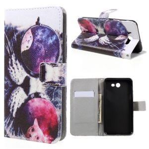Patterned Leather Wallet Mobile Case for Samsung Galaxy J7 (2017) - Cool Cat in Glasses