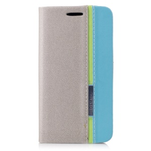 Bi-color Leather Card Holder Cell Phone Case for Samsung Galaxy J1 mini prime - Grey