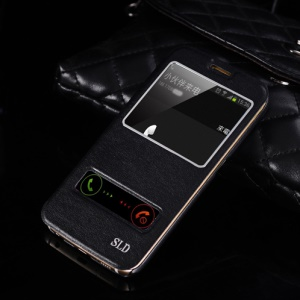 SULADA Dual Window View Leather Casing Cover for Samsung Galaxy S6 Edge G925 - Black