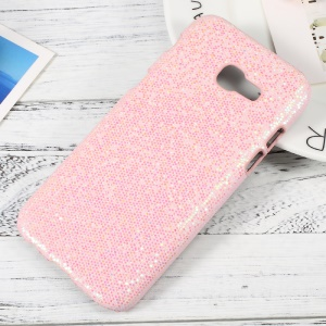 PU Leather Coated Hard PC Mobile Phone Shell for Samsung Galaxy A5 (2017) - Glittery Sequins / Pink