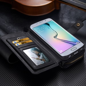 BRG Detachable Multi 11 Slots Portable Wallet Leather Case for Samsung Galaxy S6 Edge G925 - Black