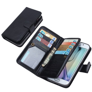 2 in 1 Detachable 9 Card Slots Leather Wallet Case for Samsung Galaxy S6 edge G925 - Black