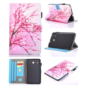 Patterned Stand Leather Card Slots Tablet Case for Samsung Galaxy Tab E 8.0 T375 T377 T377 - Plum Blossom