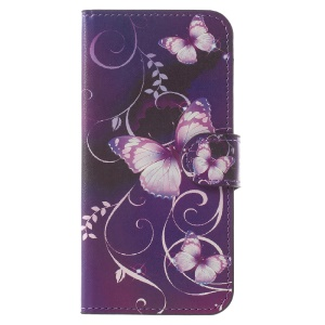 Wallet Leather Stand Cover for Samsung Galaxy A5 (2017) - Purple Butterflies
