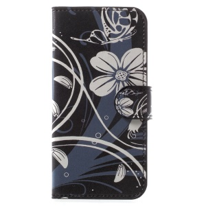 PU Leather Stand Case for Samsung Galaxy A5 (2017) - White Flower