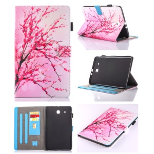 Patterned Leather Card Holder Case for Samsung Galaxy Tab E 9.6 T560 - Plum Blossom