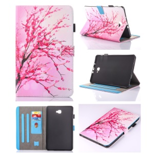 For Samsung Galaxy Tab A 10.1 (2016) T580 T585 Patterned Leather Card Holder Case - Plum Blossom