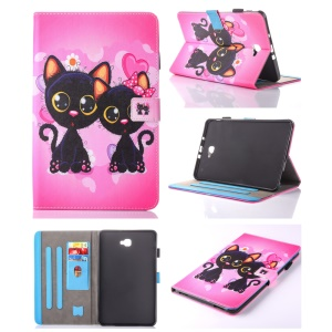 For Samsung Galaxy Tab A 10.1 (2016) T580 T585 Patterned Leather Card Slot Shell -